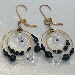 Black and Clear Glass Beaded Dangling Earrings